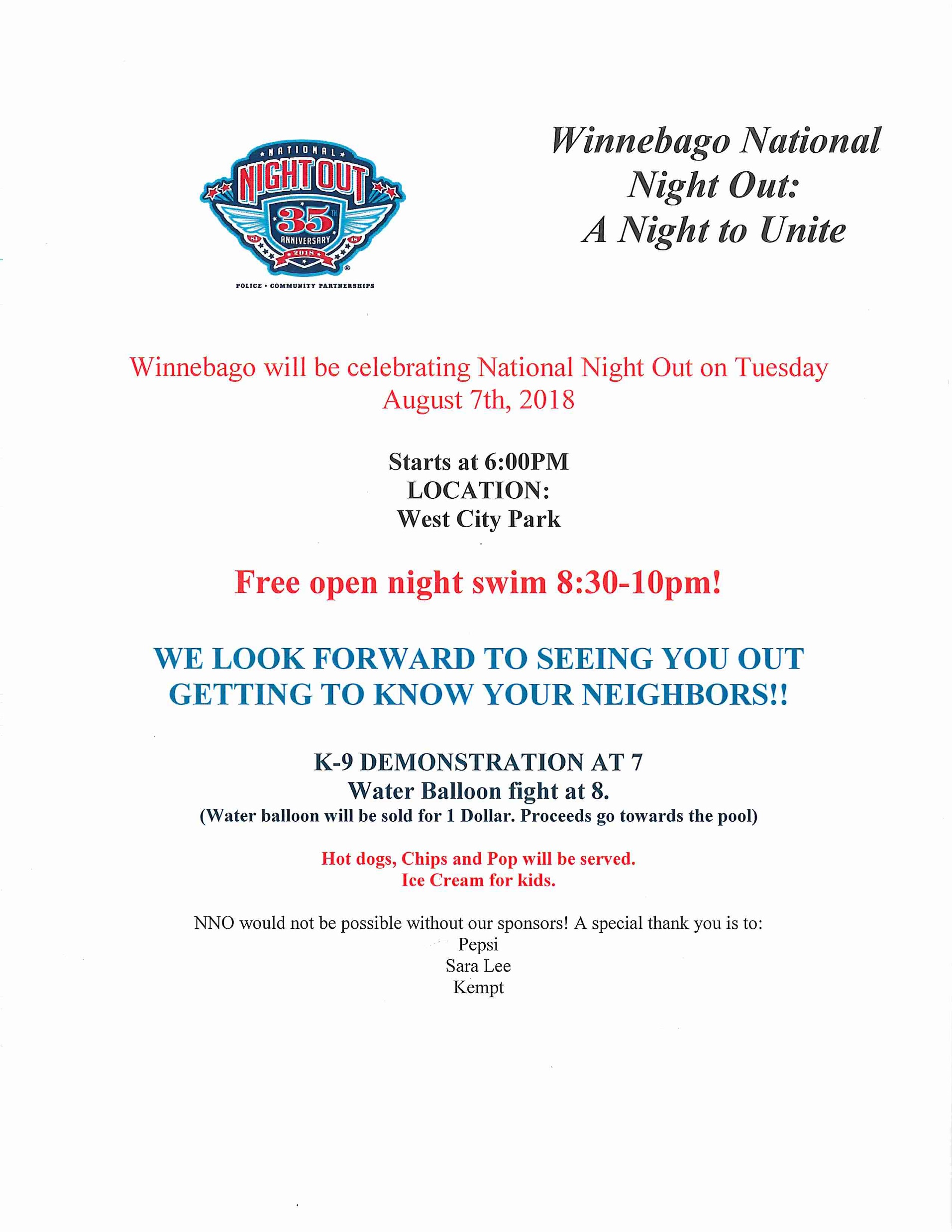 National Night Out August 7, 2018